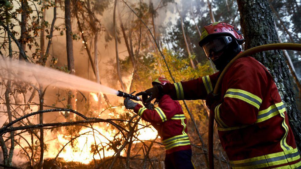 Labores de extinción en el incendio en Boa Aldeia, en la región de Viseu