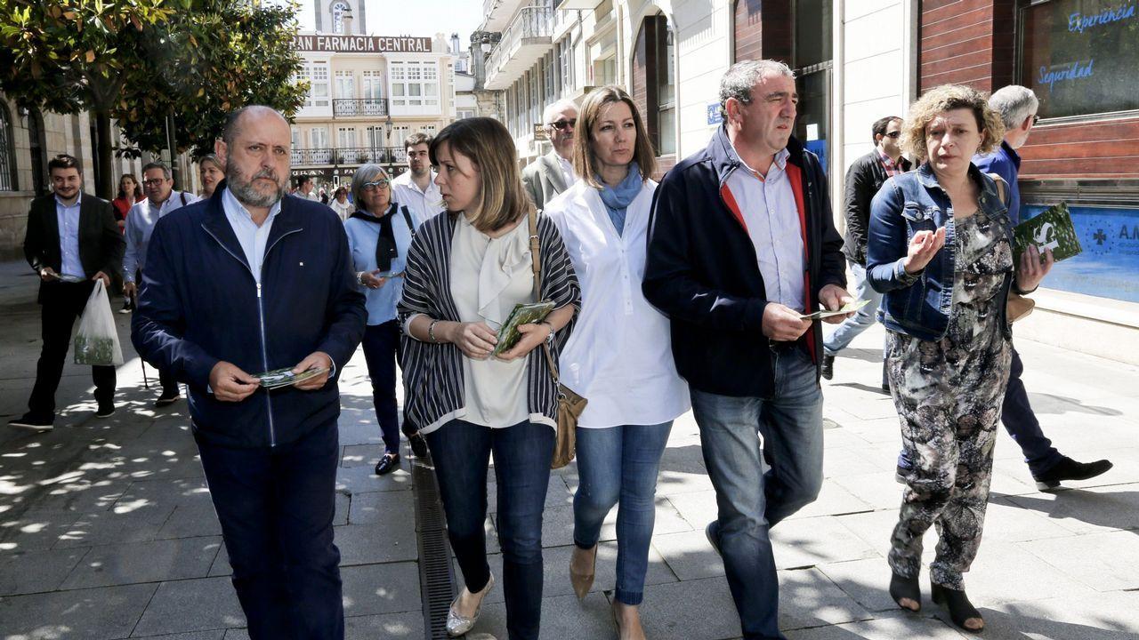 Ricardo Varela, a la izquierda, en la campaña electoral del 2016 paseando por Lugo con compañeros del PSOE
