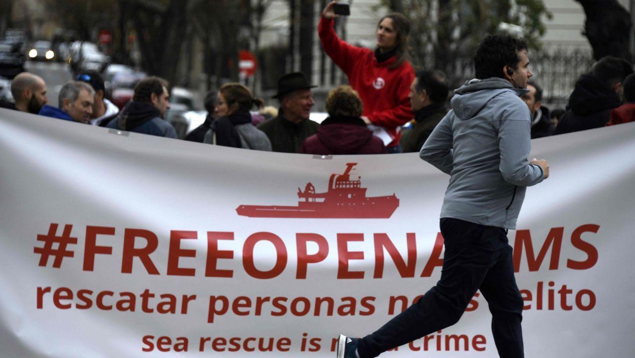 Manifestación de apoyo a la ONG Open Arms celebrada en Madrid