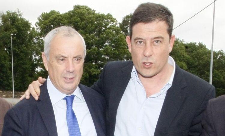 Pachi Vázquez y Besteiro, durante la asamblea provincial de los socialistas lucenses en el 2012.