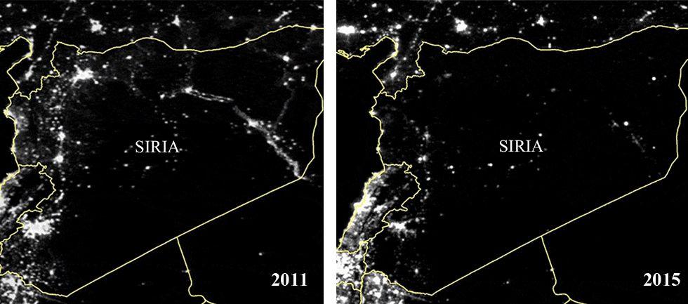 Evolución de las vistas nocturnas de Siria en los últimos años