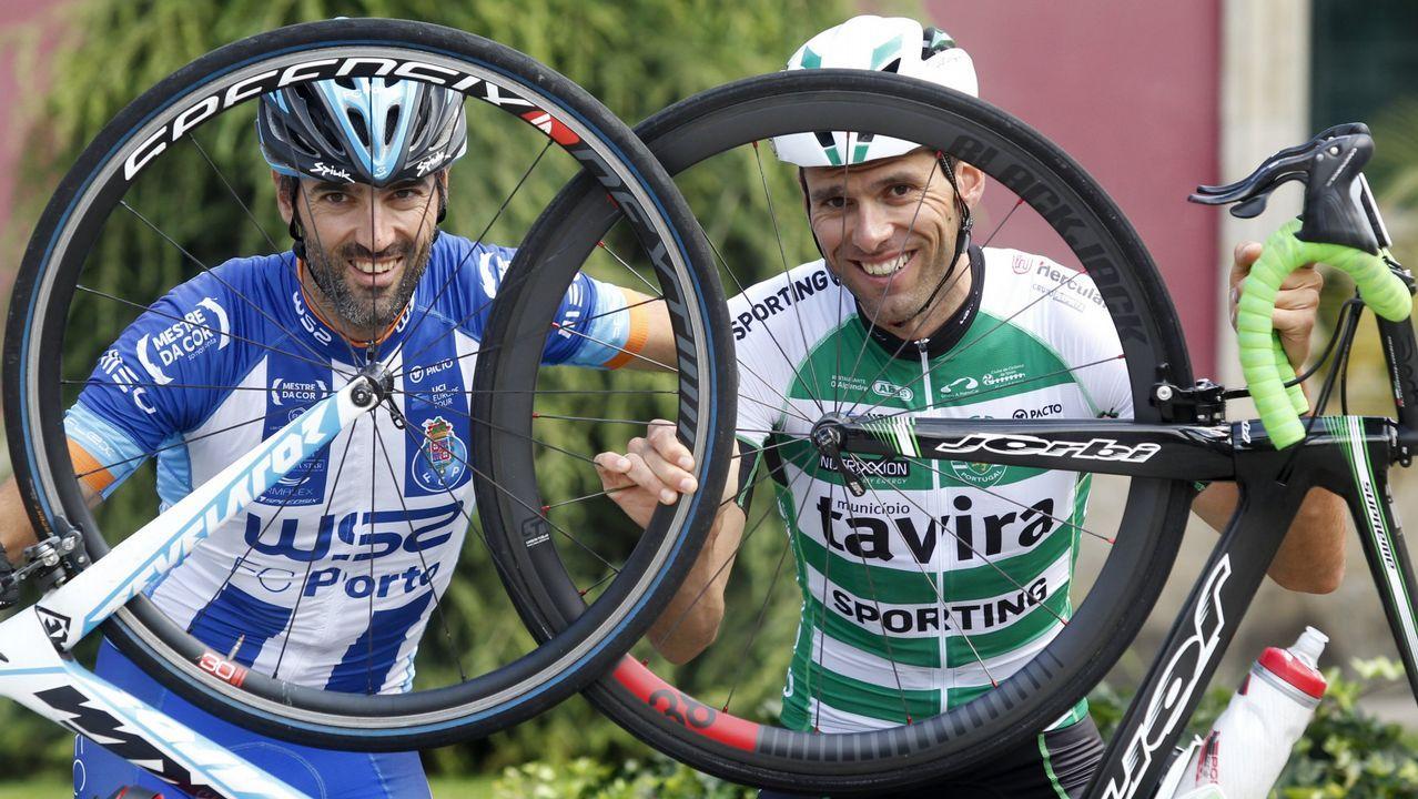 Semifinal, Liceo-Igualada.Los ciclistas Veloso y Marque corren para el Oporto y el Sporting de Lisboa, respectivamente
