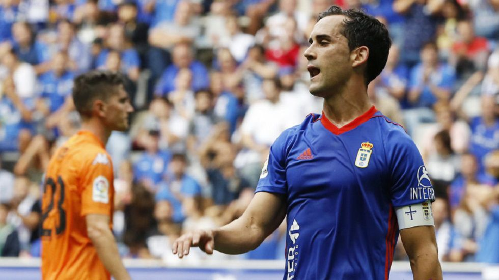 Gol Linares Real Oviedo Lorca Carlos Tartiere.Linares en el Oviedo-Reus