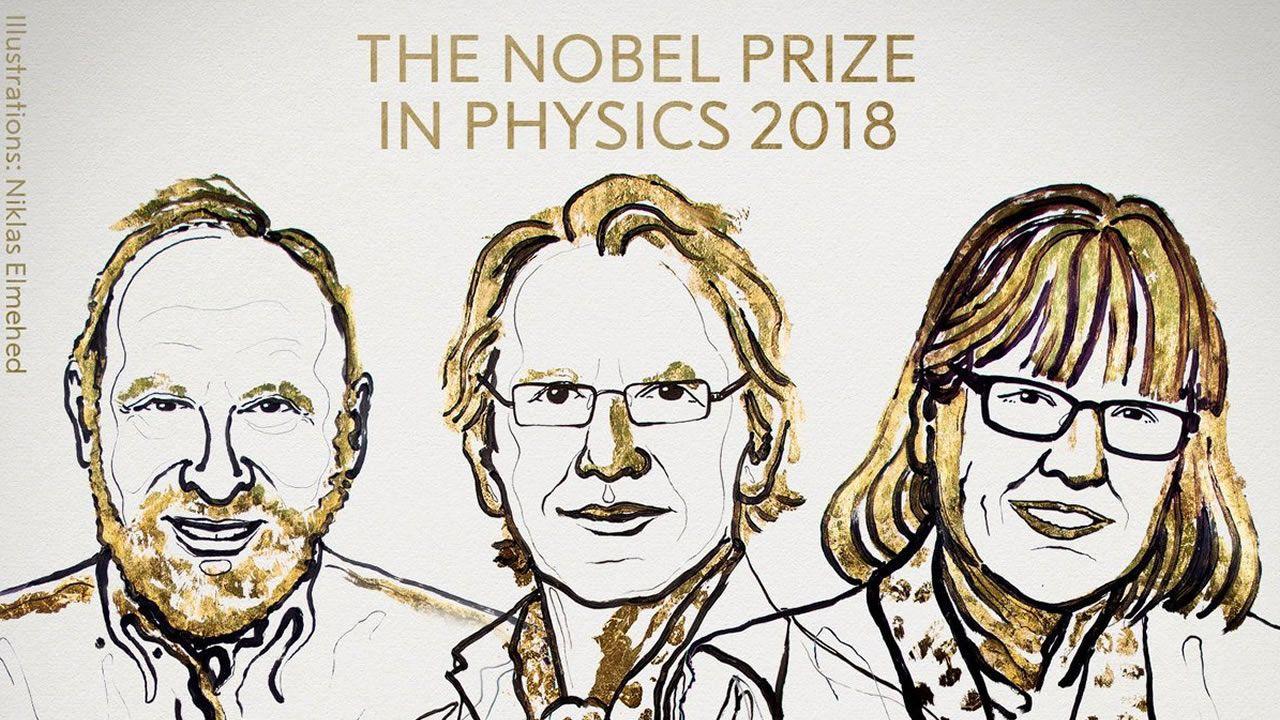 El vídeo humorístico, ¿y sexista?, que pudo costar un Nobel.De izquierda a derecha, los galardonados con el Nobel de Física Gérard Mourou, Donna Strickland y Arthur Ashkin