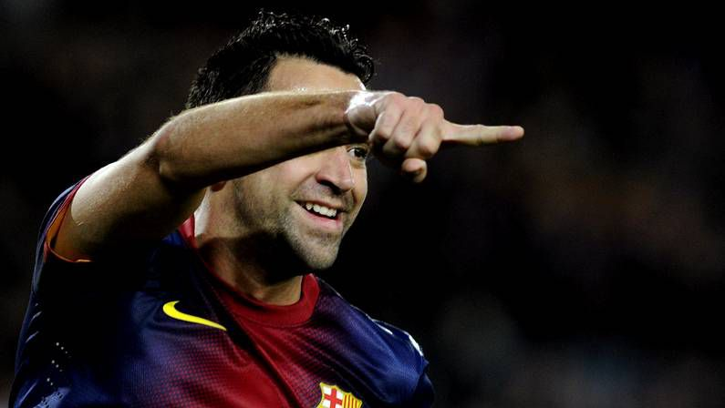 Los grandes momentos de Messi con el Barça.Xavi celebra un gol del Barça