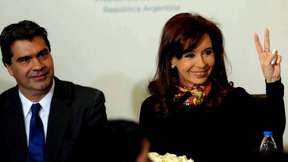 La presidenta de Argentina, Cristina Fernández, y el jefe de gabinete argentino, Jorge Capitanich