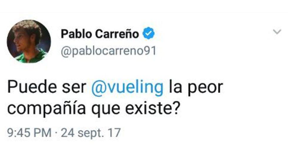 Mensaje de Carreño en Twitter contra Vueling