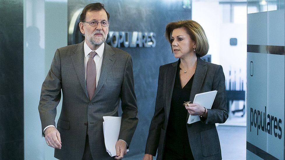 Cospedal sobre la corrupción: «En alguna ocasión no fuimos lo ágiles que la sociedad demandaba».Fernández, Cospedal y López Ares