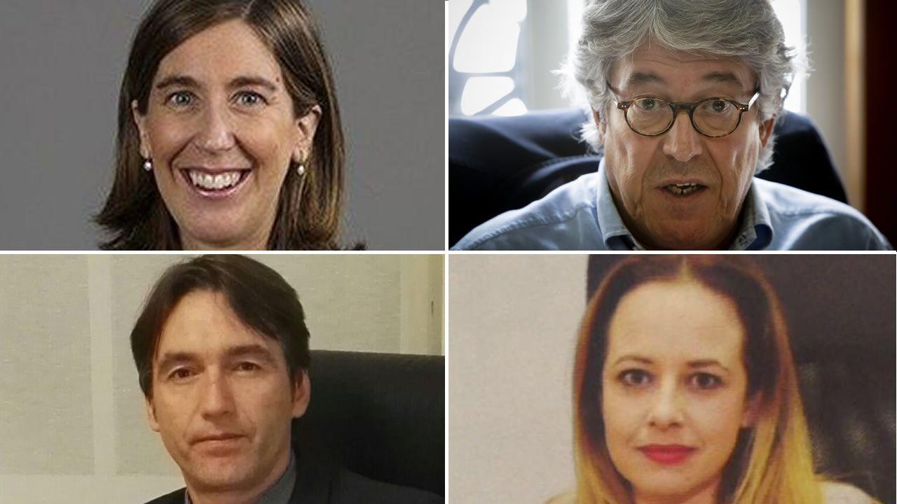 De izquierda a derecha y de arriba abajo, Arancha López Rey, abogada de Vento; José Luis Gutiérrez-Aranguren, abogado; Diego Reboredo, abogado; y Beatriz Núñez, miembro del colegio de abogados de A Coruña y vocal de la subcomisión de violencia sobre la mujer del CGAE