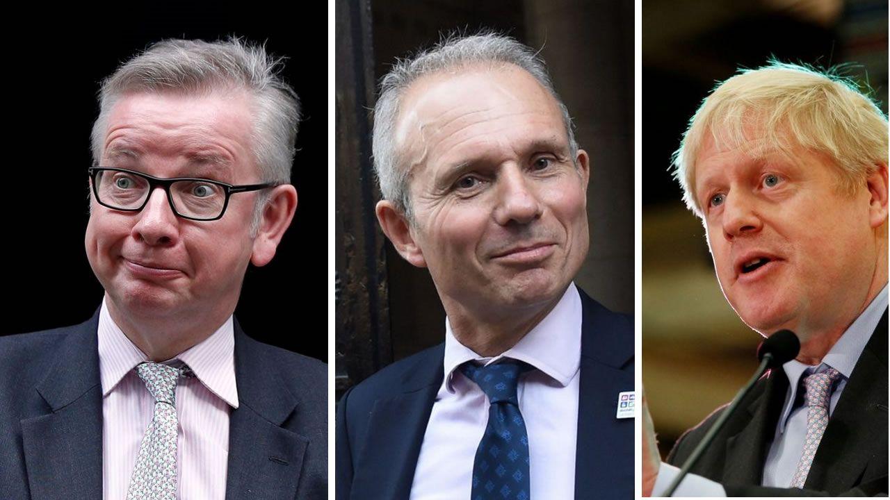 Combo ciencia brexit.Por orden, David Lidington, Michael Gove y Boris Jonhson