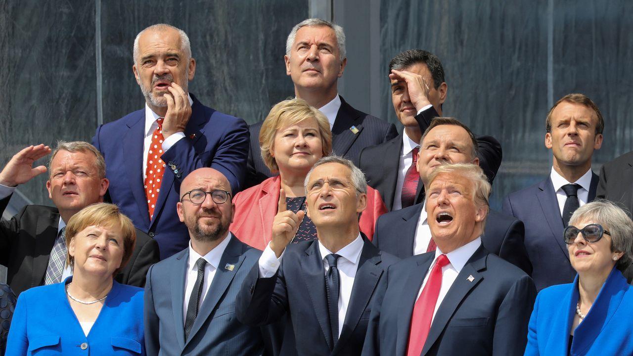 .Los líderes de los países miembro de la OTAN, durante la cumbre en Bruselas