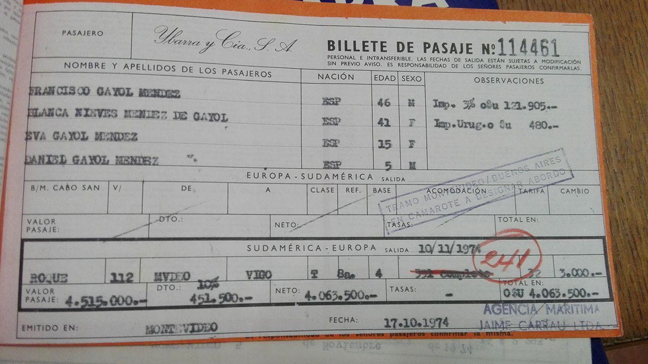 Billete del crucero Montevideo-Vigo de la Compañía Ybarra en 1974.