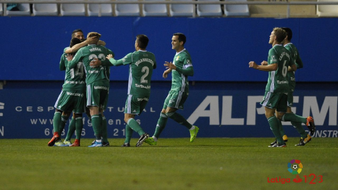 Aaron lesion Carlos Tartiere Real Oviedo Numancia Horizontal.Jugadores del Oviedo celebrando uno de los tantos al Lorca