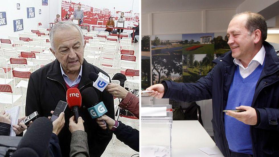 .Méndez Romeu y Leiceaga votando en A Coruña y en Santiago