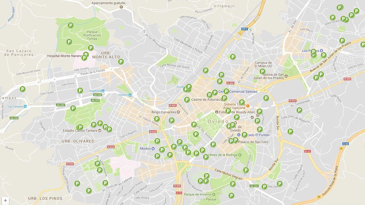 Manifestación por la III República en Oviedo.Mapa de aparcamientos de bicicletas en Oviedo