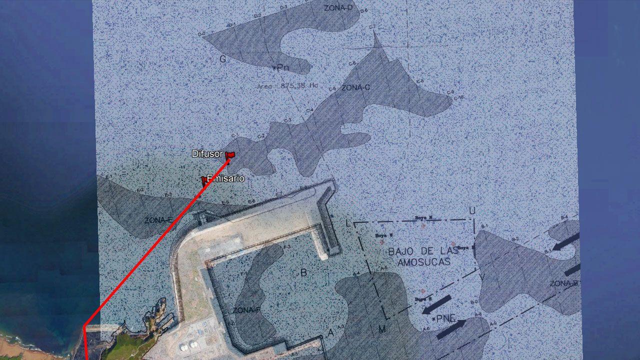 Delimitación de las zonas de dragado para las obras de ampliación del puerto de El Musel