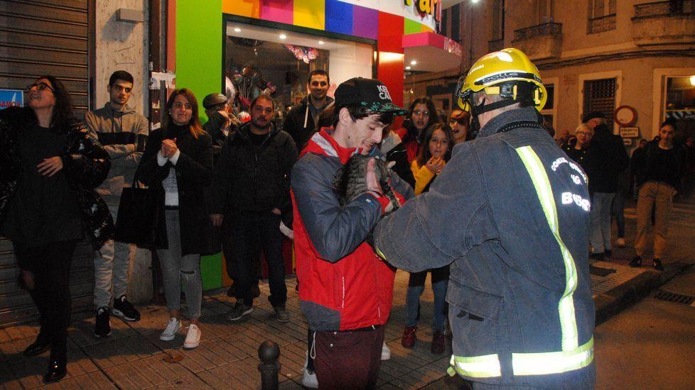 Un bombero entrega la gata a Marcos Rodríguez, uno de sus dueños