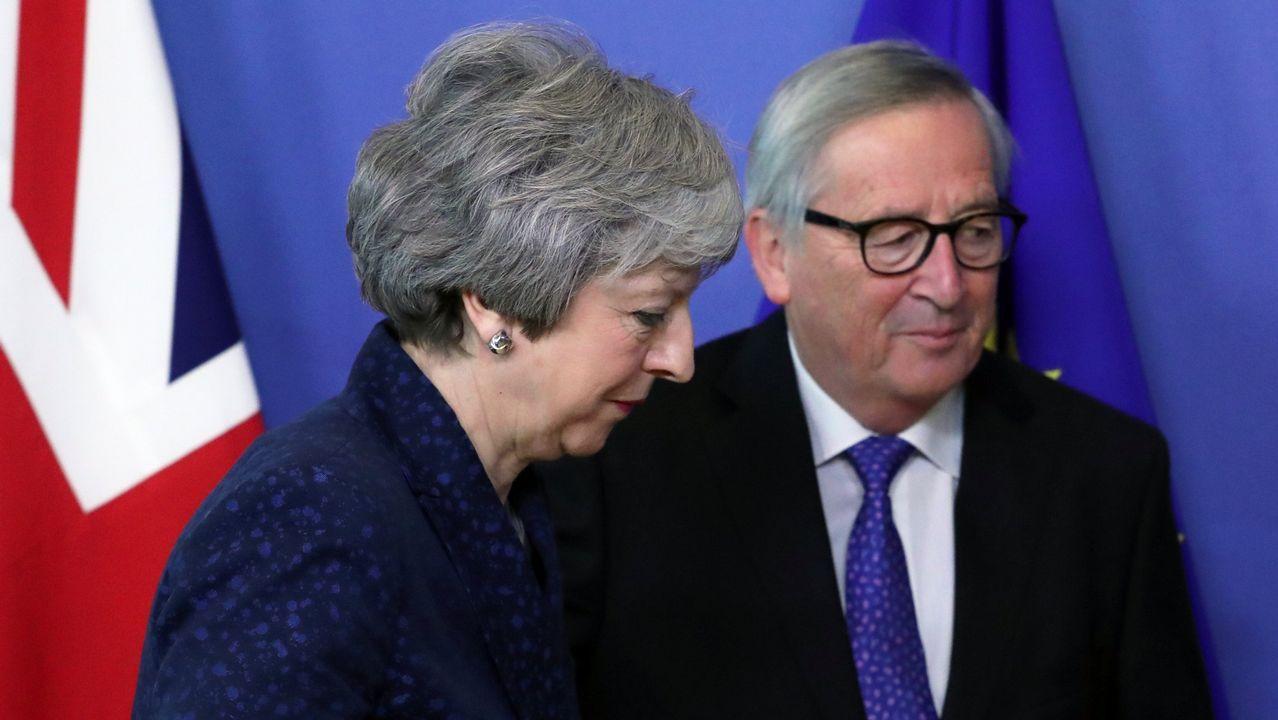 May y Juncker, durante su reunión del pasado día 7 de febrero