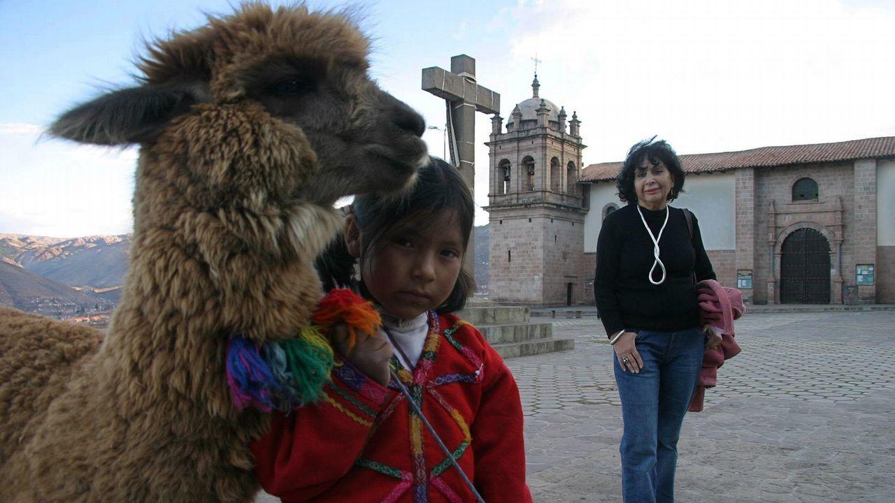 María del Carmen Martín Rubio, en Cuzco, en uno de sus viajes de investigación a Perú