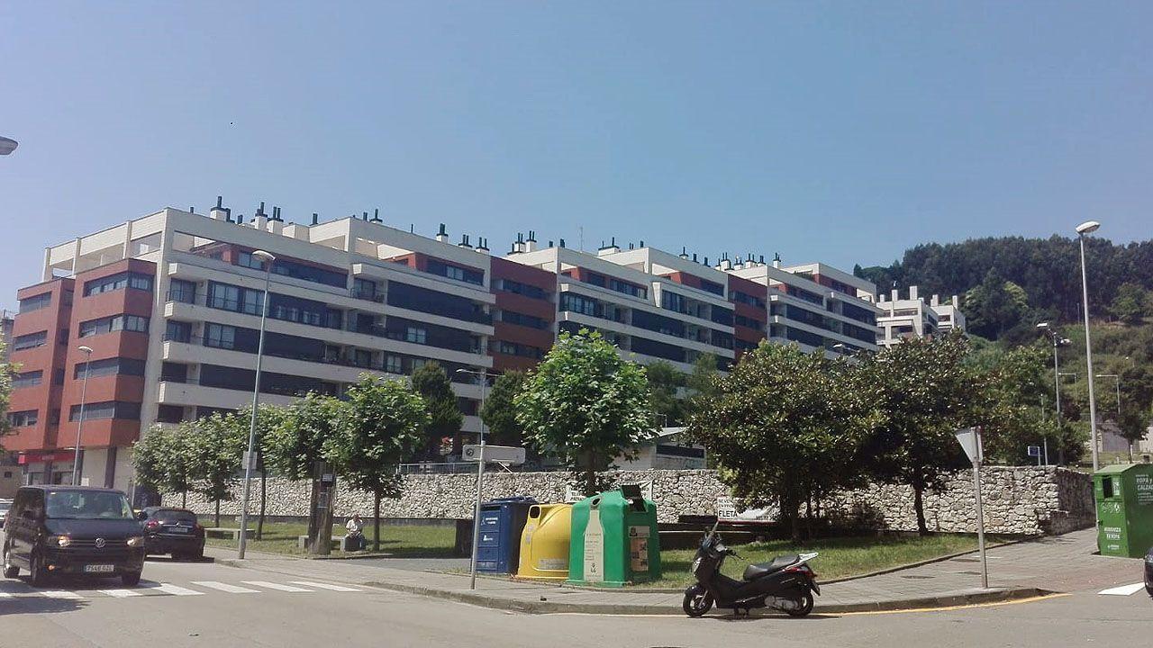 Aceite de oliva.Una urbanización de pisos en Luanco (Gozón)