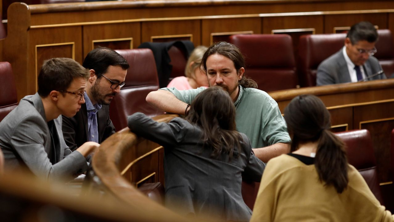 Errejón e Iglesias, en uno de sus últimos encuentros en el Congreso