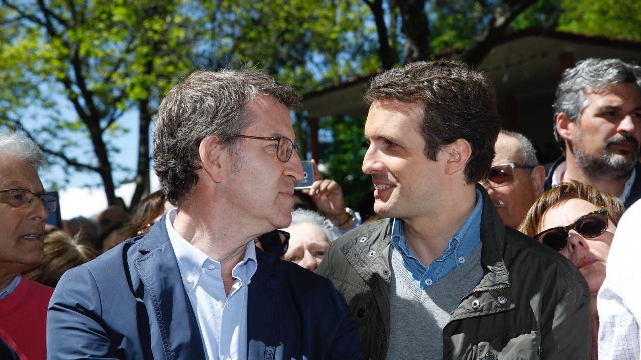 Alberto Núñez Feijoo y Pablo Casado, en la romería del PP en O Pino