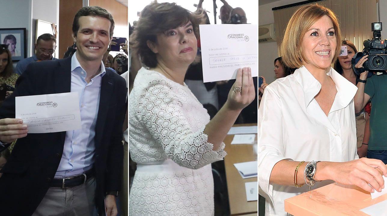 Pablo Casado: «Si presido el PP, Feijoo será lo que él quiera».María Dolores de Cospedal y Mercedes Fernández en un acto de las primarias del PP en Asturias