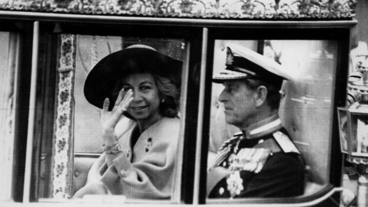 En carroza, junto al Duque de Edimburgo, en 1986