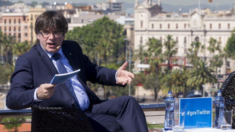 Así fue el juicio del caso Palau.Puigdemont, en la presentación en Barcelona de un manual sobre gobierno en Twitter.