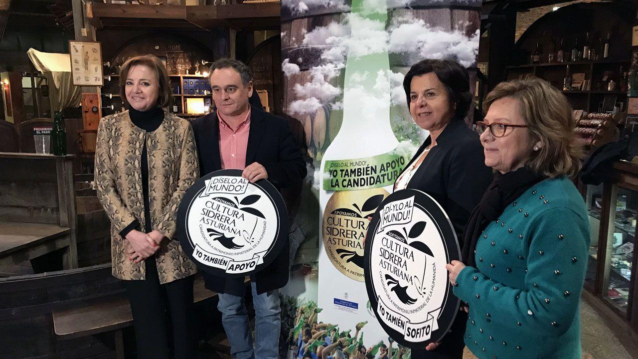 Otilia Requejo, Juan Cañal, María Jesús Álvarez y María Jesús Aguilar, en la presentación de la campaña para conseguir que la sidra se patrimonio inmaterial de la humanidad