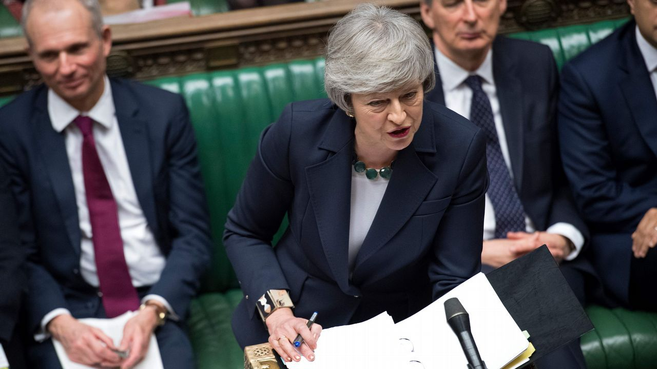 Theresa May, durante su intervención en el Parlamento