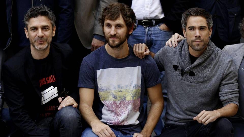 . Leonardo Sbaraglia, Raúl Arévalo y Unax Ugalde en la presentación de la VII edición de la Fiesta del Cine