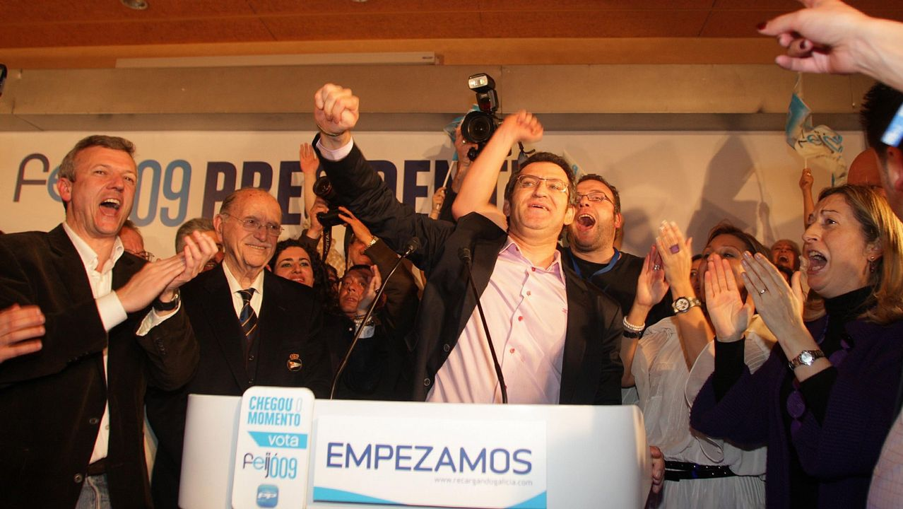 Feijoo no tenía discurso de ganador y el PPdeG tuvo que improvisar una fiesta en un hotel.