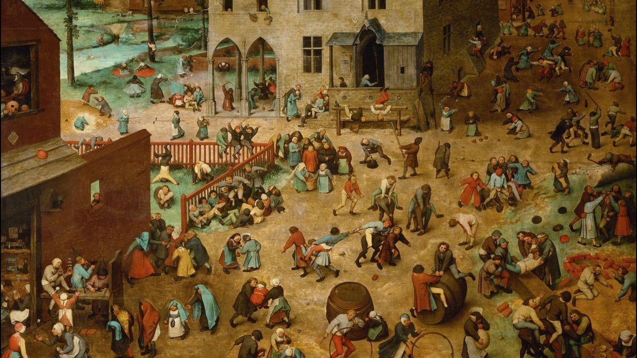 Niños fumando una vez al año.«Juegos de niños» (1560), de Pieter Bruegel el Viejo. Kunsthistorisches Museum, Viena