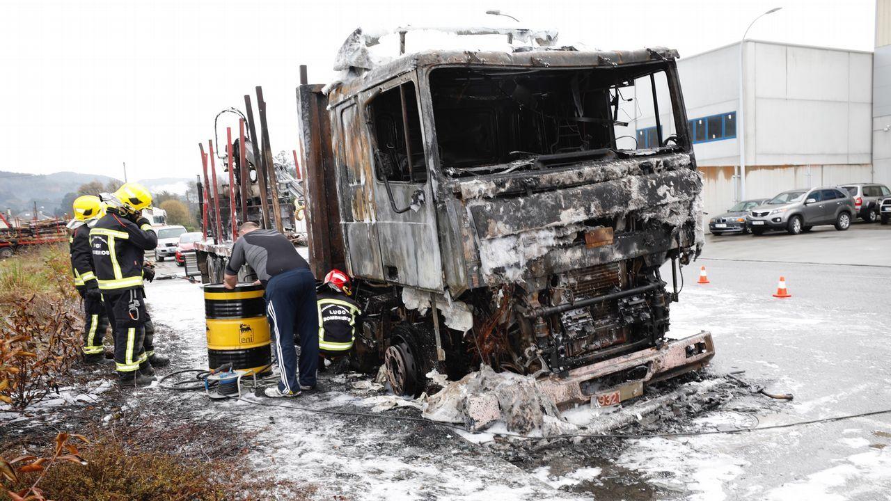 Arde un camión de madera en el polígono industrial de Landrove