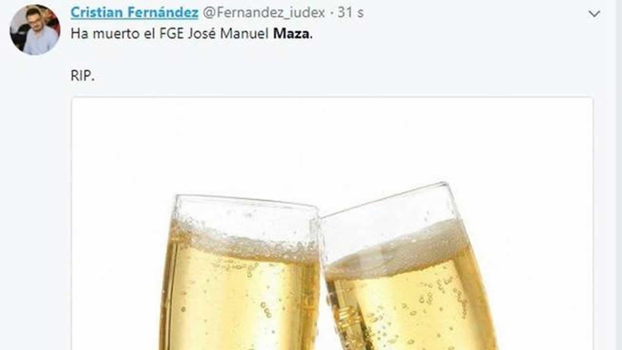 .Tuit de Fernández ya eliminado de su cuenta personal