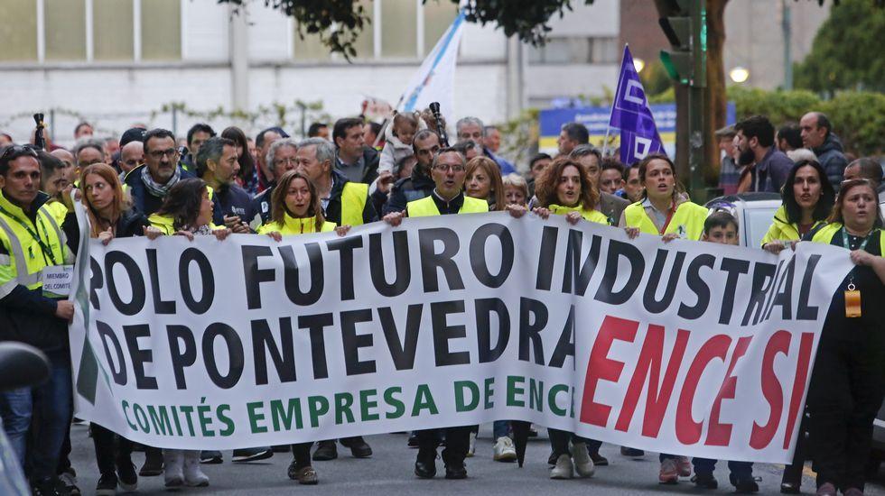Casado aterriza en Asturias.Manifestación de trabajadores de Ence