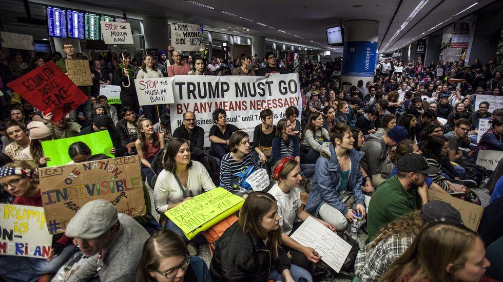 .Protestas contra el veto de Trump a refugiados y ciudadanos de países musulmanes en San Francisco