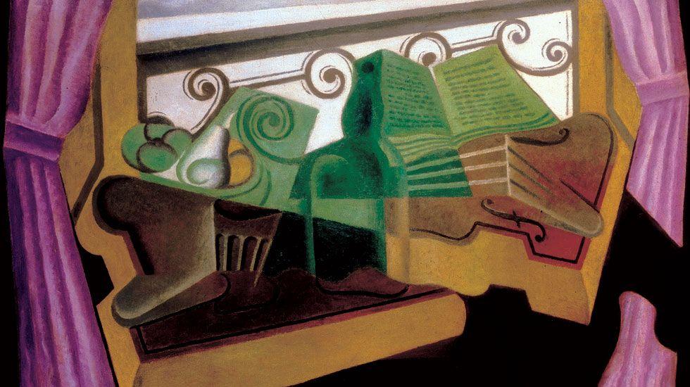 Israel Sastre y Mike Vergara.Una de las obras de Juan Gris incluidas en la exposición