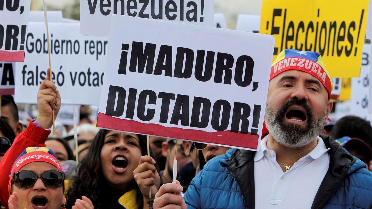 Imagen de la manifestación convocada en Madrid en apoyo a la oposición a Maduro
