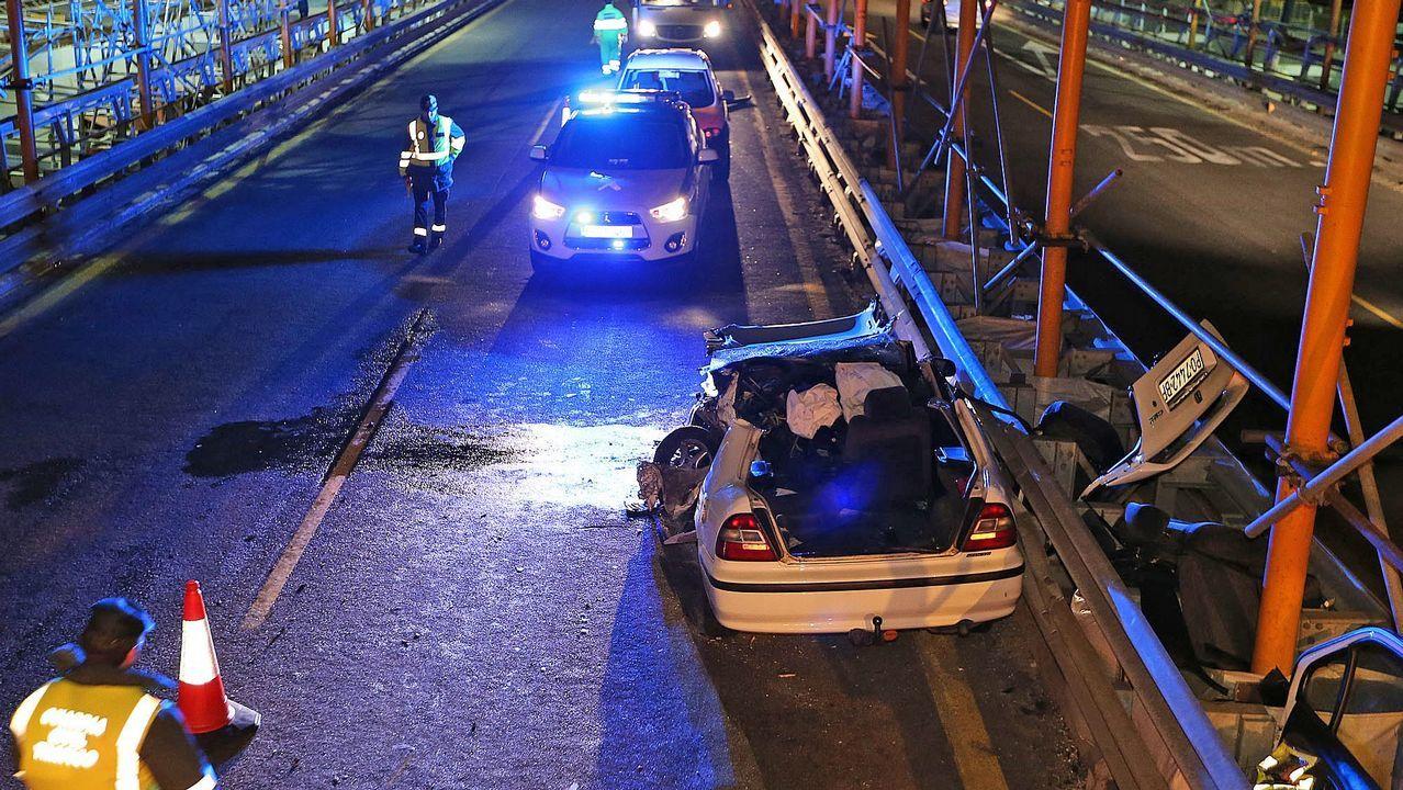 .Accidente provocado esta semana por un conductor suicida en el puente de Rande