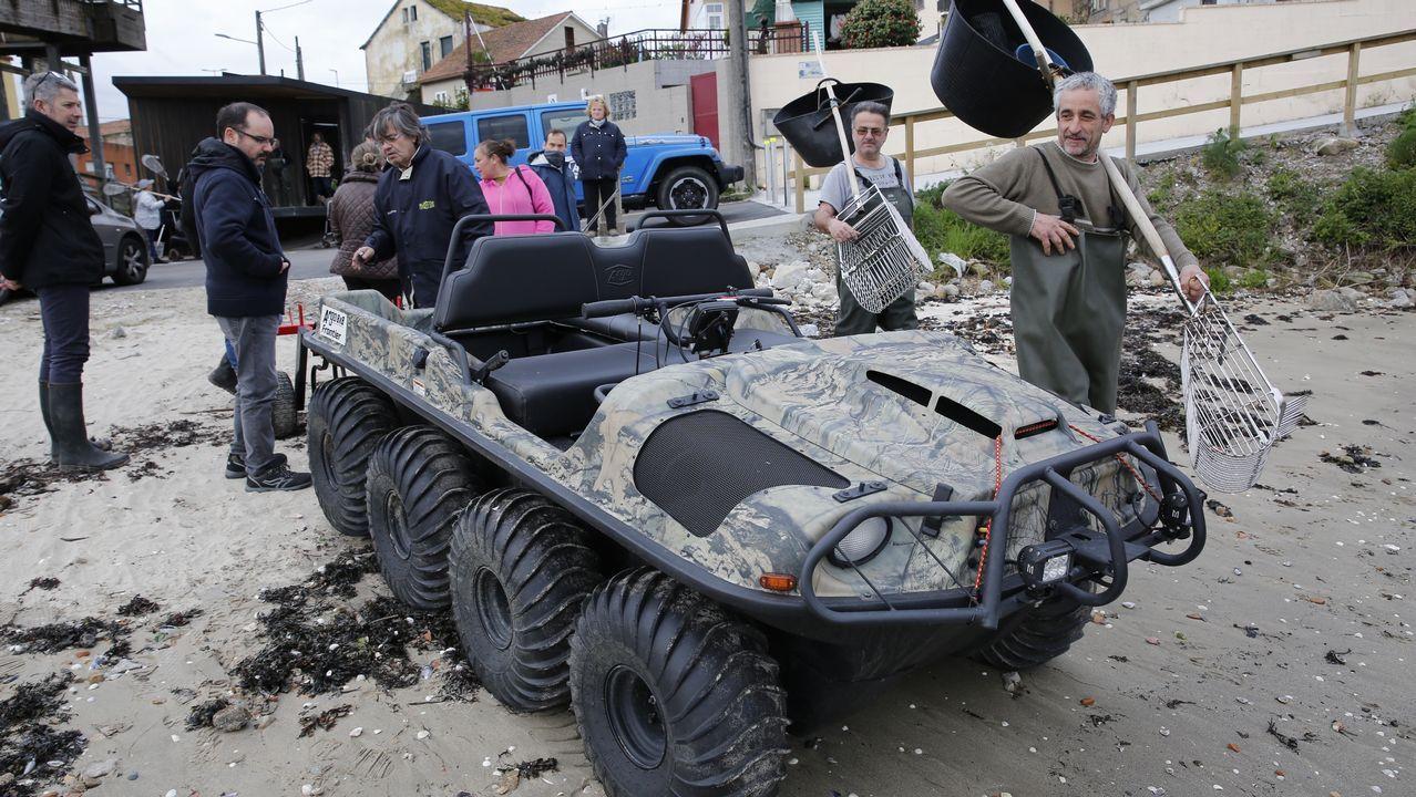 Los mariscadores aran Os Praceres con un vehículo anfibio innovador