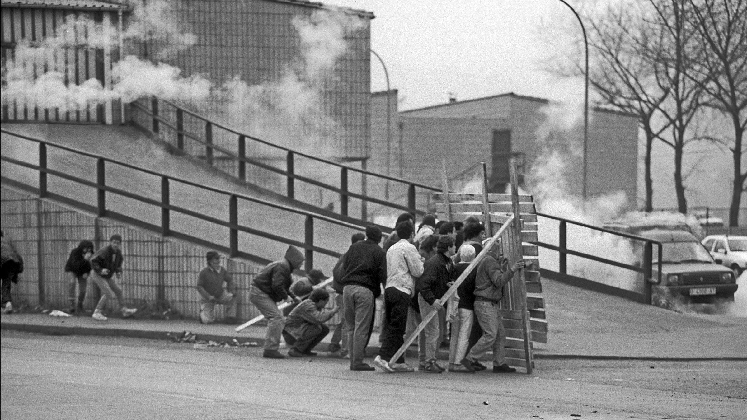 Movilizaciones mineras durante el encierro del Pozo Barredo. Mieres. Asturias 1991