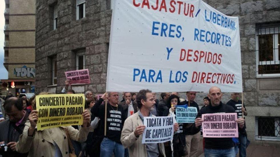 Protestas de Liberbank.Protestas de trabajadores de Liberbank