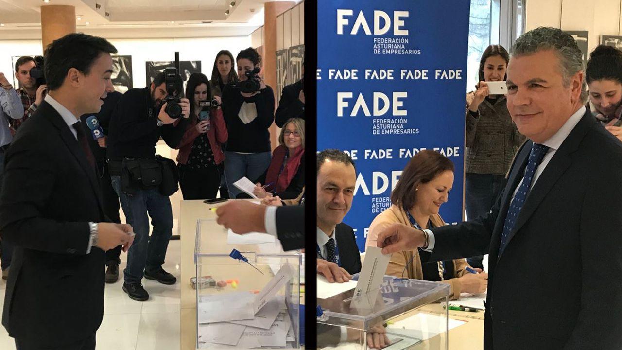 Belarmino Feito, nuevo presidente de FADE.Los dos candidatos a la presidencia de FADE votan en las elecciones de la patronal