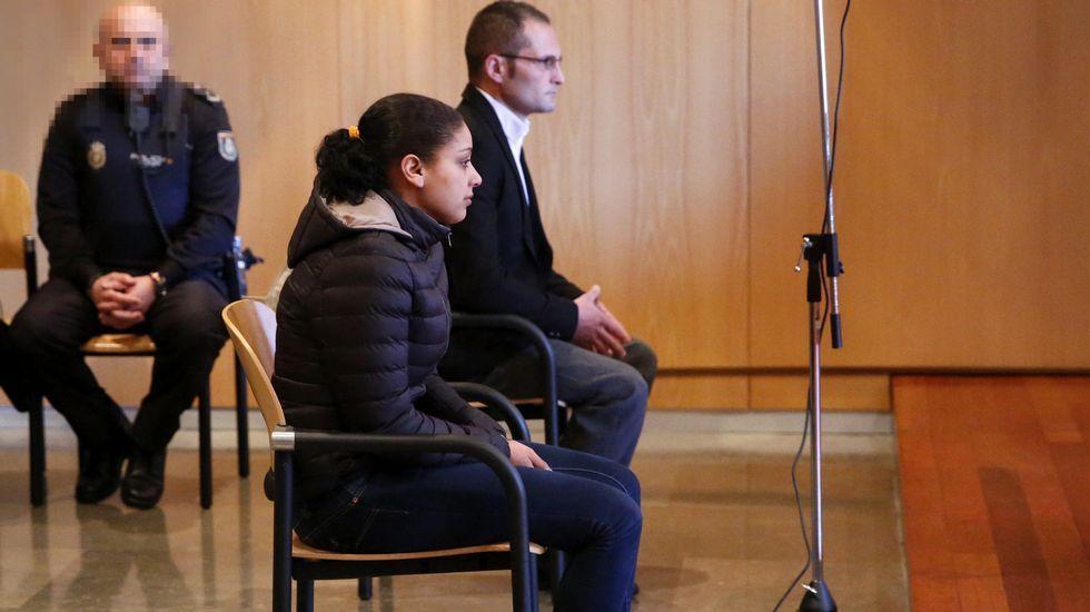 .Fadila Chardoud y David Fuentes durante la primera sesión del juicio