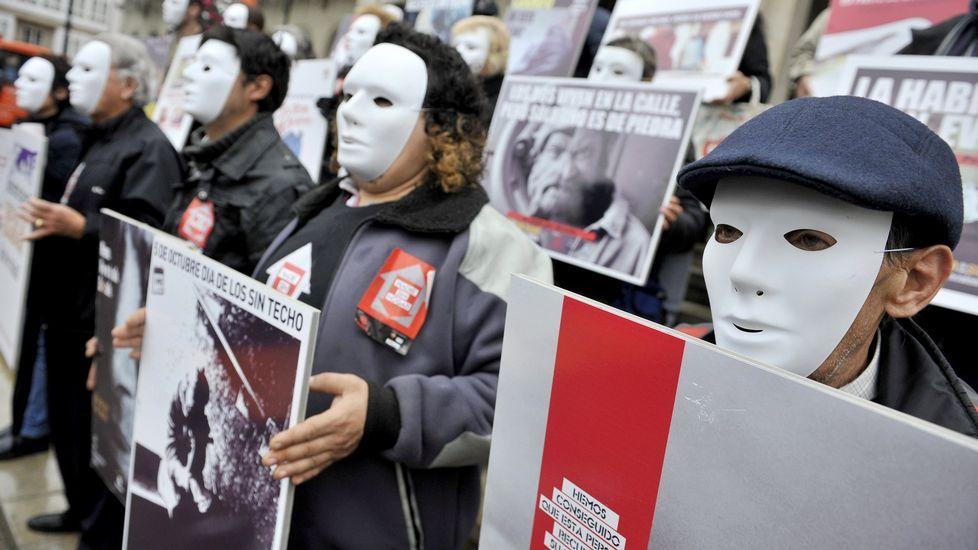 Los efectos de Kurt y Leiv tres días después.Acción solidaria organizada por Cártias en apoyo del os sin techo