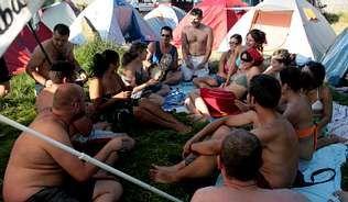 La zona de acampada se llenó por completo por la tarde   ANA GARCÍA