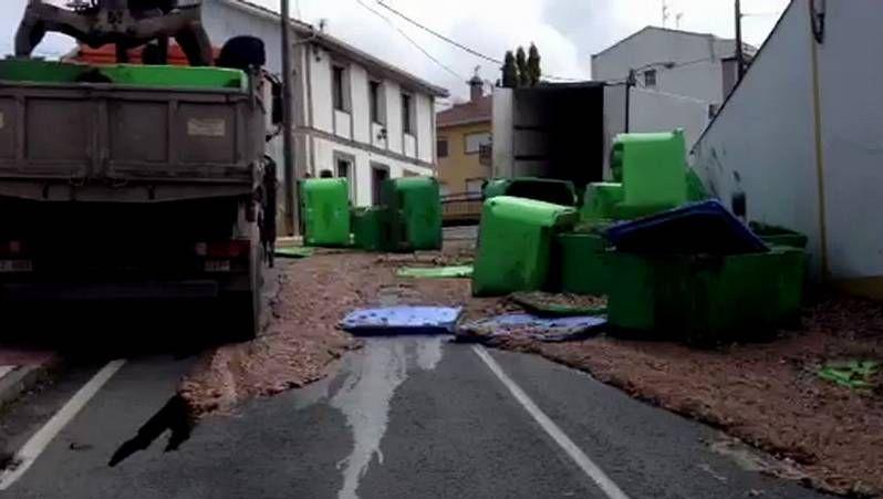Un camión pierde su carga de pescado podrido en Arteixo