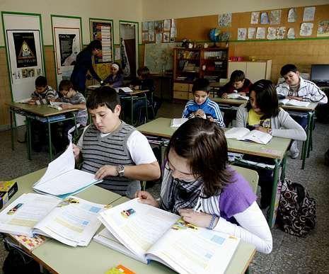 Una clase del colegio de Ferreira do Valadouro.